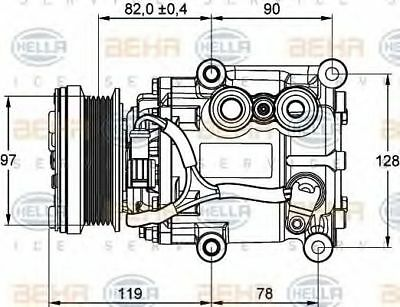 Genuine OE Hella AIR CONDITIONING COMPRESSOR (DAW DBW) 8FK351113-311 OE