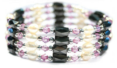 Bulk Lot X 12 Hematite Pear Purple Bead Bracelet