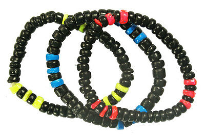 Bulk Lot X 12 Fluro And Black Bead Bracelet