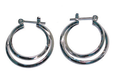 Bulk Lot X 12 Rhodium Double Hoop Earrings