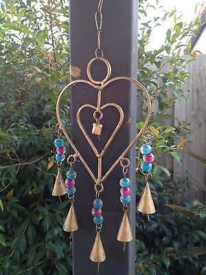 Heart Shape Bell Wind Chime or Wall Art Decoration with Beads - New!