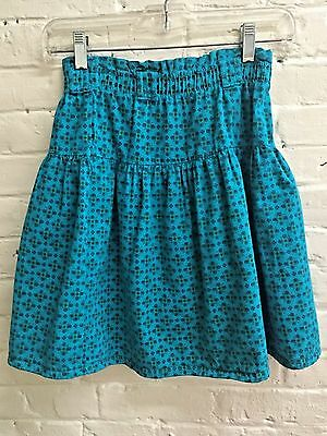 Vtg 90s girl L Teal Green Palmettos Cotton Skirt Geometric Yoke EUC