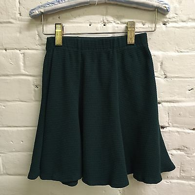 Vtg 90s 6 7 Girl skirt forest green waffle weave Flare cotton blend Knitwaves