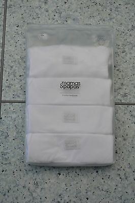 BN Mamas and Papas 4 Pack Unisex Short Sleeved White Vests 0-3 Months