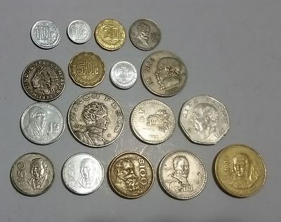 Mexico 17 different Mexican coins 10 centavos up to 1000 Pesos