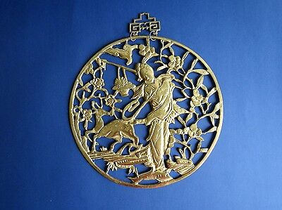 Asian / Oriental Solid Brass Wall plaque / Hanging / Picture Plate / Display