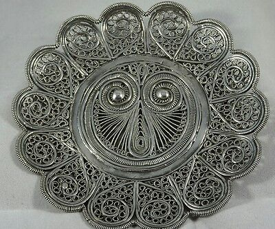 Heavy Solid Silver Indian Filigree Trinket or Coin Tray/Dish