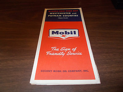 1958 Mobil Westchester and Putnam Counties Vintage Road Map