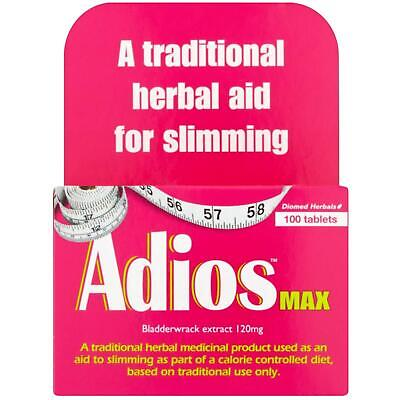 Adios Max Maximum Strength Weight Loss Tablets - 100 Herbal Tablets