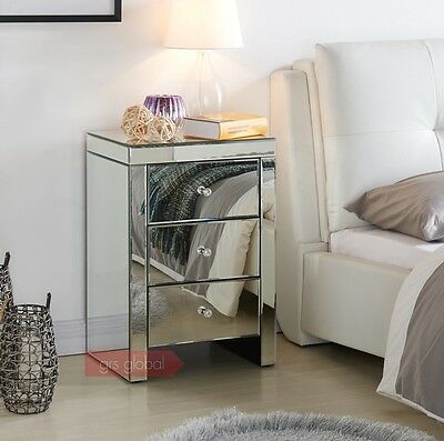 Mirrored Bedside Table Cabinet 3 Drawers New Stylish Bedroom Home