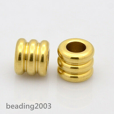 5pcs Large Hole Column Stainless Steel European Beads Charms Spacer Golden 9x8mm
