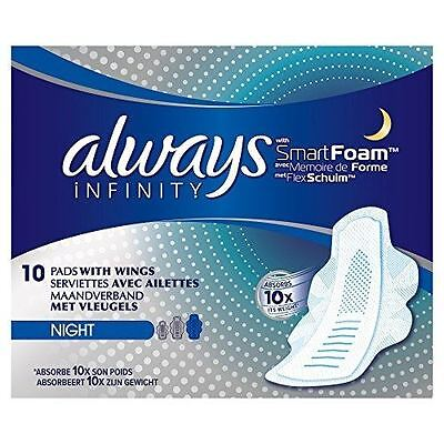 Always Infinity with Smart Foam 3 Night Sanitary Towels With Wings 10 Pads