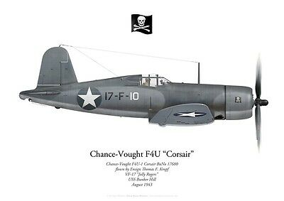Print F4U Corsair, Ens. Thomas Kropf, VF-17 Jolly Rogers, 1943 (by P. Mehard)