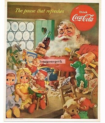 1953 COCA COLA COKE Santa Claus Elves Making Christmas Toys art VTG PRINT AD