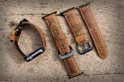 Brown Bull Leather Watch Strap Band for Apple Watch Series 1 2 3 42mm Black Fix