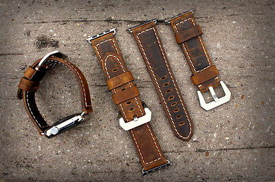 Brown Bull Leather Watch Strap Band for Apple Watch Series 1 2 3 42mm Silver Fix
