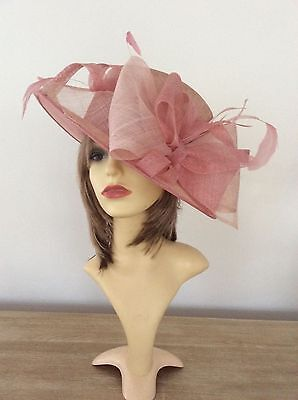 Salmon Pink Large Wedding/race Day Hat Ideal Ascott