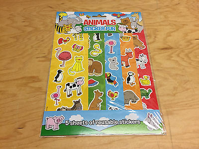 Animal Stickers 5 Sheets - 60 Stickers