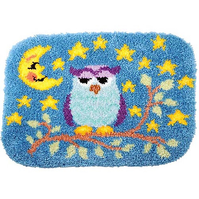 Night Owl Printed Canvas Latch Hook Rug Kit  - Everything included