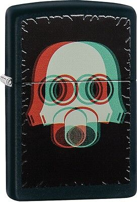 Zippo Nuclear Mask3D Black Matte WindProof Lighter NEW 29417