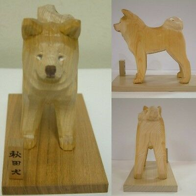 Akita dog wooden statue made in Japan