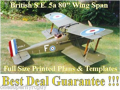 """S.E.5a Biplane 80""""WS Giant Scale RC Airplane Full Size PRINTED Plans & Templates"""