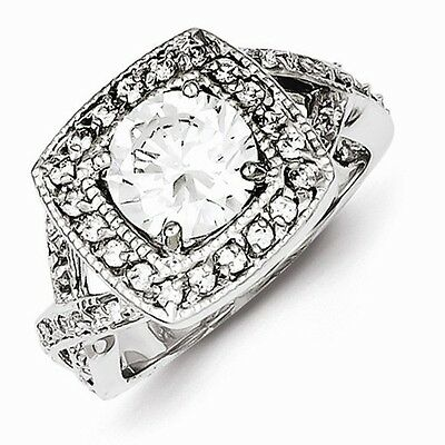 STERLING SILVER ANTIQUE STYLE SQUARE HALO SETTING 8mm ROUND CZ RING - SIZE 8