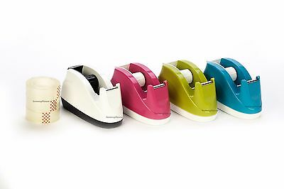 Tape Dispenser Desktop Office Sticky Sellotape Holder & 3 Free Tape Rolls