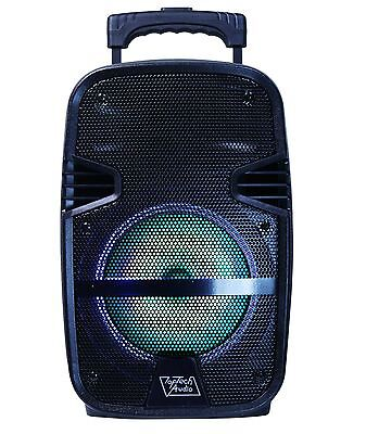 "8"" Portable 1600 Watts Bluetooth Speaker w/ LED Light & Handheld Mic - Black"