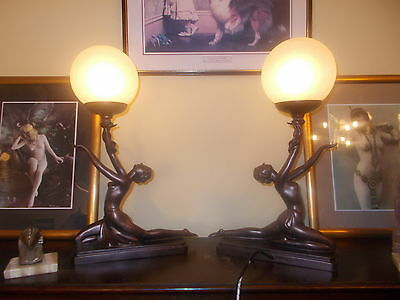 Pair 2 Art Deco Kneeling Nora Bronze Globe Naked Lady Lamp Lamps Bedside Light