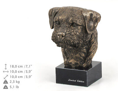 Border Terrier, dog bust marble statue, ArtDog Limited Edition, USA