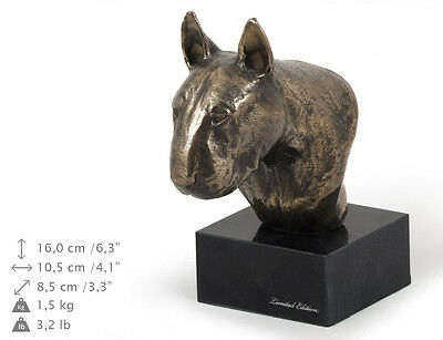 Bull Terrier smaller statue, dog bust marble statue, ArtDog Limited Edition, USA