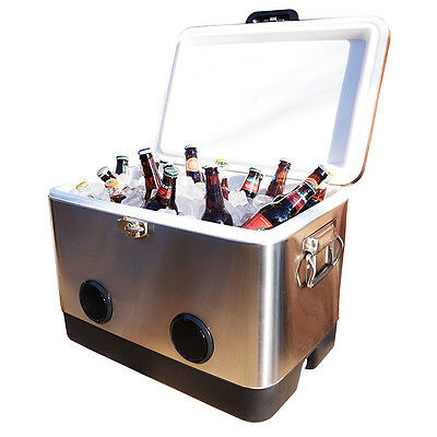 CLEARANCE **BREKX 54QT Stainless Steel Party Cooler with High-Powered Speakers