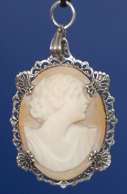 Antique Cameo Pendant hand carved Cornelian shell Sterling