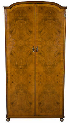 Antique Style Vintage Light Wood Walnut Wardrobe Armoire Clothes Closet Locking