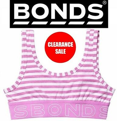 BONDS GIRLS WIDE BAND PURPLE STRIPE CROP TOP Training Bra Underwear Kids SALE