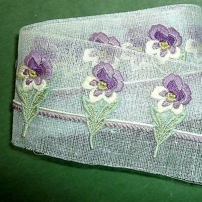 Antique Hand Embroidered Pansy Applique