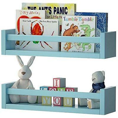 Wall Shelf Nursery Kids Room Aqua Blue Decor Baby Storage Set 2 Organizer New