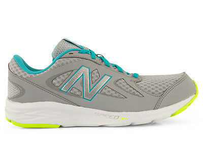 New Balance Women's Wide Fit 490v4 Running Shoe - Silver/Blue/Lime