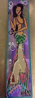 NOR Mermaid W/ Black Hair & Large Fan Tail Folk Art Painting on Wood