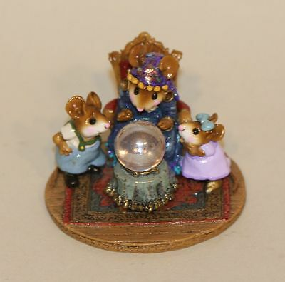 Wee Forest Folk Crystal Clear M-2000 Seer Mouse Crystal Ball Table SIGNED X 3