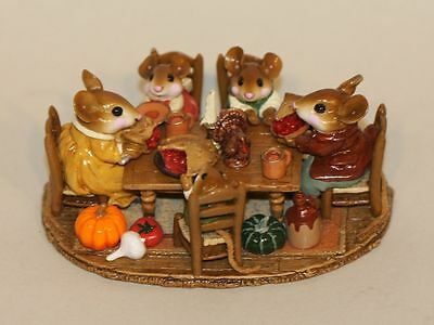 Wee Forest Folk Mouse Family Gathering Thanksgiving M-302 Table Pie Turkey