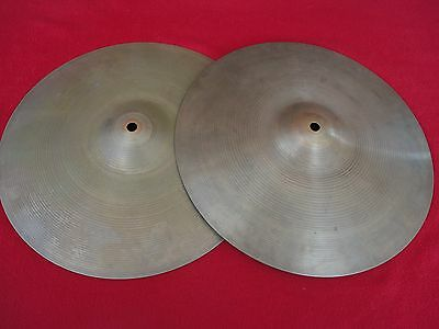 "1960s VINTAGE 14""/36cm AVEDIS ZILDJIAN NEW BEAT STYLE HI HAT CYMBALS MADE IN USA"