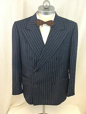 Mens Vintage 1930-40s Double Breasted Pinstriped Wool Suit Jacket 38 short