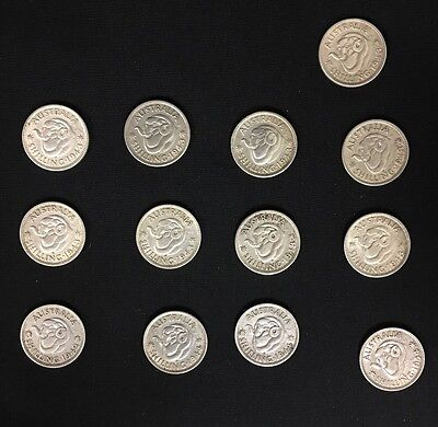 Australian Silver Shilling lot of 13 coins