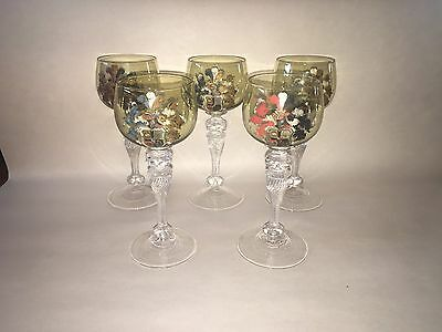 Antique Bohemian Moser Style English Glass Goblets Coat Of Arms Painted Stemware