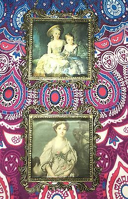 Estate Collectable ~ Small Brass Double Hanging Framed Silk Print Vintage Italy