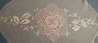 Vintage/antique Embroidered Silk Flower Inset Edwardian/1920's Pink & Green
