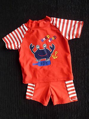 Baby clothes BOY 6-9m 2-piece red/white frog swim outfit top/shorts UV-protectio