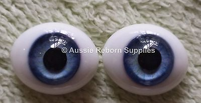 Reborn Baby Oval Glass Eyes 16mm Sky Blue Doll Making Supplies